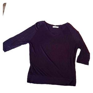 3/4 Sleeve Studded Purple Shirt by Revolution